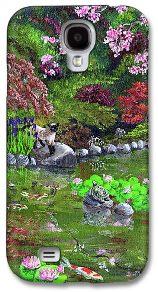 Sakura Paintings Galaxy S4 Cases - Cat Turtle and Water Lilies Galaxy S4 Case by Laura Iverson