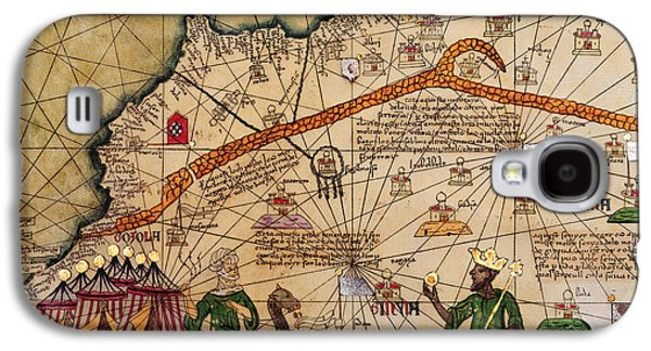 Catalan Map Of Europe And North Africa Charles V Of France In 1381  Galaxy S4 Case by Abraham Cresques