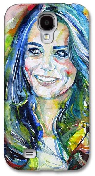 Catherine,duchess Of Cambridge - Watercolor Portrait.4 Galaxy S4 Case