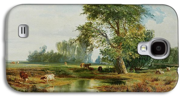 Field. Cloud Paintings Galaxy S4 Cases - Cattle Watering Galaxy S4 Case by Thomas Moran