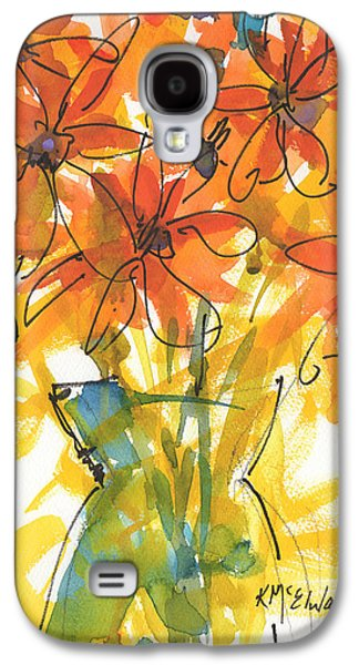 Celebration Of Sunflowers Watercolor Painting By Kmcelwaine Galaxy S4 Case by Kathleen McElwaine