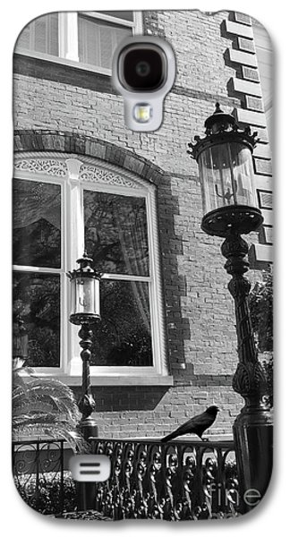 Charleston French Quarter Architecture - Window Street Lanterns Gothic French Black White Art Deco  Galaxy S4 Case by Kathy Fornal