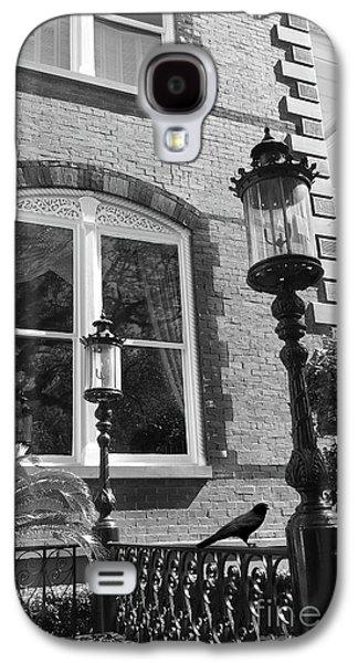 Charleston French Quarter Architecture - Window Street Lanterns Gothic French Black White Art Deco  Galaxy S4 Case by Kathy Fornal