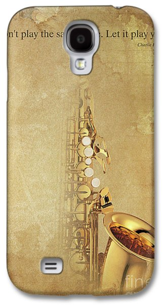 Charlie Parker Saxophone Brown Vintage Poster And Quote, Gift For Musicians Galaxy S4 Case by Pablo Franchi