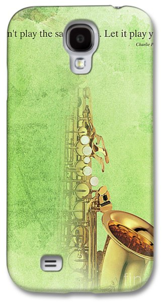 Charlie Parker Saxophone Green Vintage Poster And Quote, Gift For Musicians Galaxy S4 Case by Pablo Franchi