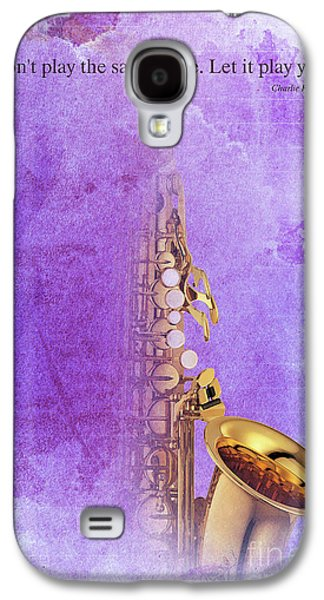 Charlie Parker Saxophone Purple Vintage Poster And Quote, Gift For Musicians Galaxy S4 Case by Pablo Franchi
