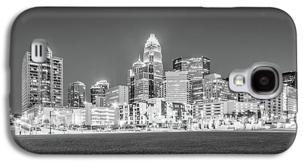 Charlotte Skyline At Night Panorama In Black And White Galaxy S4 Case by Paul Velgos