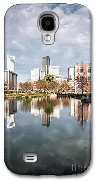 Charlotte Skyline Reflection On Marshall Park Pond Galaxy S4 Case by Paul Velgos