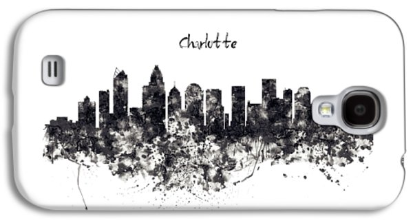 Charlotte Watercolor Skyline Black And White Galaxy S4 Case by Marian Voicu