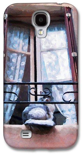 Chat Bleu Dans La Fenetre Rose Galaxy S4 Case