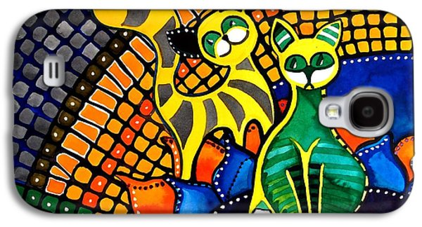 Galaxy S4 Case featuring the painting Cheer Up My Friend - Cat Art By Dora Hathazi Mendes by Dora Hathazi Mendes