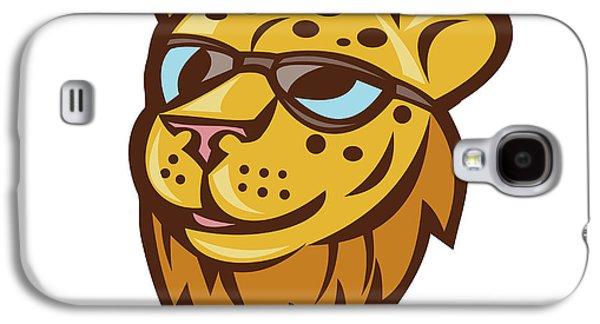 Cheetah Head Sunglasses Smiling Cartoon Galaxy S4 Case