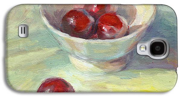 Modern Drawings Galaxy S4 Cases - Cherries in a cup on a sunny day painting Galaxy S4 Case by Svetlana Novikova