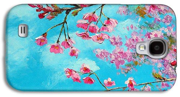 Cherry Blossom Blue Galaxy S4 Case
