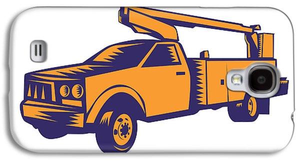 Cherry Picker Mobile Lift Truck Woodcut Galaxy S4 Case