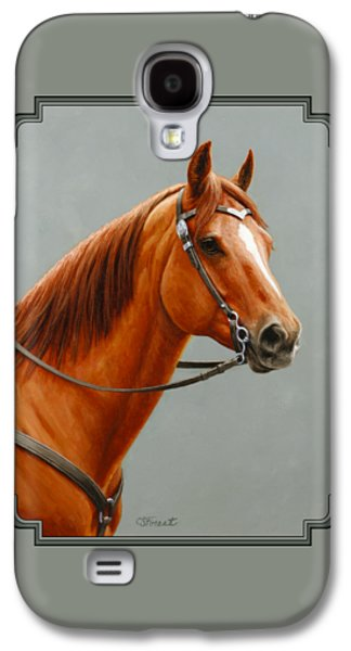Chestnut Horse Galaxy S4 Cases - Chestnut Dun Horse Painting Galaxy S4 Case by Crista Forest