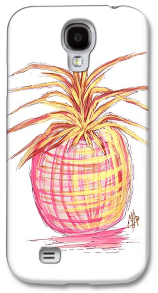 Chic Pink Metallic Gold Pineapple Fruit Wall Art Aroon Melane 2015 Collection By Madart Galaxy S4 Case by Megan Duncanson