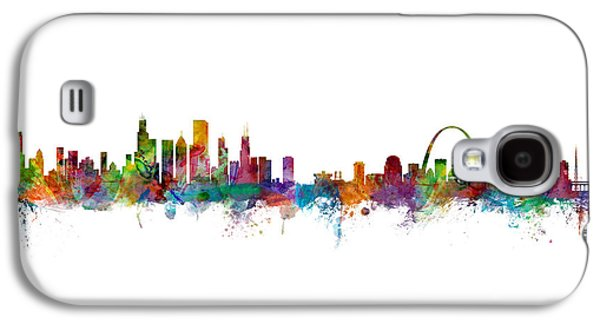 Chicago And St Louis Skyline Mashup Galaxy S4 Case by Michael Tompsett