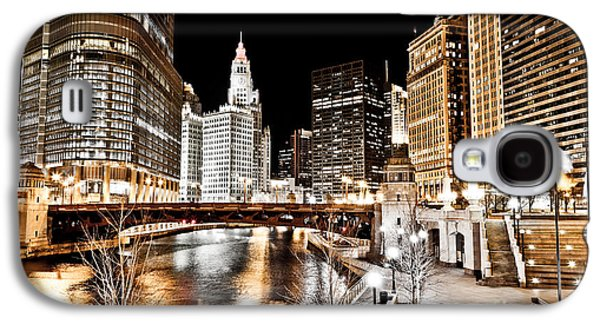 Chicago At Night At Wabash Avenue Bridge Galaxy S4 Case by Paul Velgos