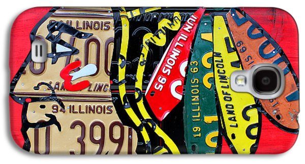 Chicago Blackhawks Hockey Team Vintage Logo Made From Old Recycled Illinois License Plates Red Galaxy S4 Case by Design Turnpike