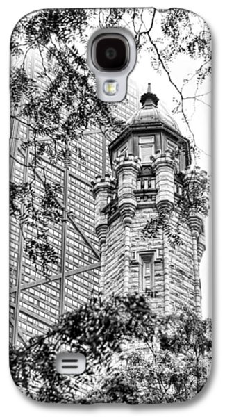 Galaxy S4 Case featuring the photograph Chicago Historic Water Tower Fog Black And White by Christopher Arndt