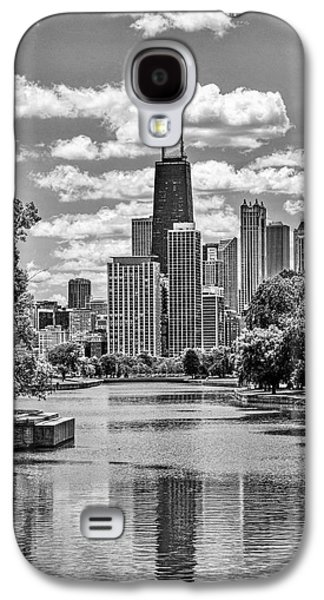 Galaxy S4 Case featuring the painting Chicago Lincoln Park Lagoon Black And White by Christopher Arndt