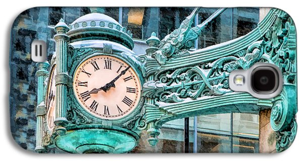 Galaxy S4 Case featuring the painting Chicago Marshall Field State Street Clock by Christopher Arndt