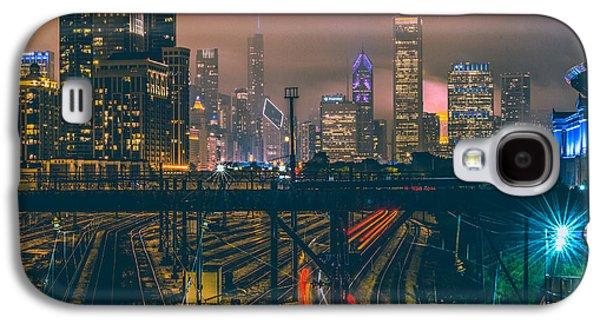Transportation Galaxy S4 Case - Chicago Night Skyline  by Cory Dewald