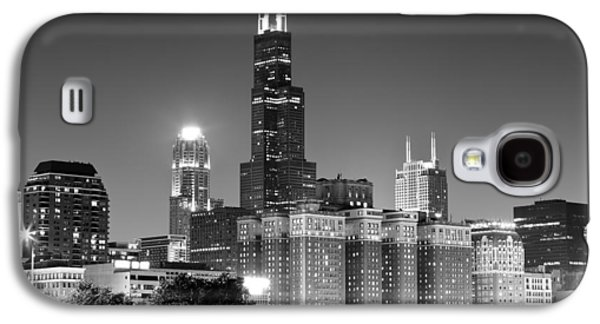 Downtown Franklin Galaxy S4 Cases - Chicago Night Skyline in Black and White Galaxy S4 Case by Paul Velgos