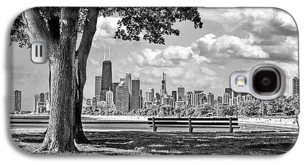 Galaxy S4 Case featuring the photograph Chicago North Skyline Park Black And White by Christopher Arndt