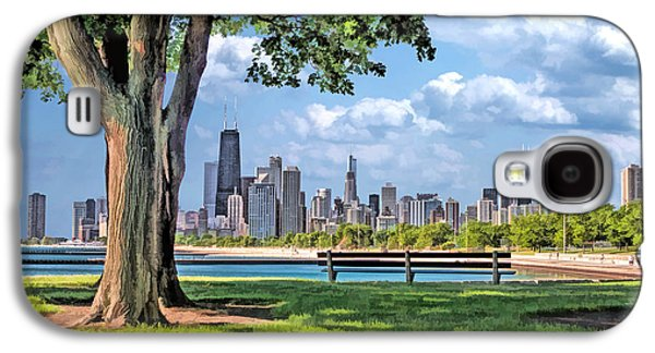 Galaxy S4 Case featuring the painting Chicago North Skyline Park by Christopher Arndt