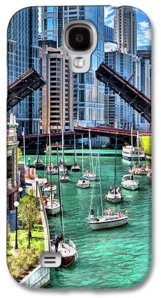 Galaxy S4 Case featuring the painting Chicago River Boat Migration by Christopher Arndt