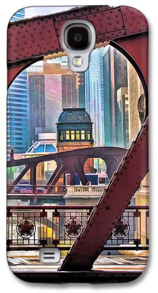 Galaxy S4 Case featuring the painting Chicago River Bridge Framed by Christopher Arndt