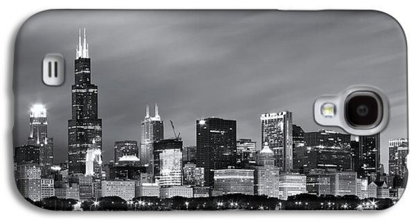Galaxy S4 Case featuring the photograph Chicago Skyline At Night Black And White  by Adam Romanowicz
