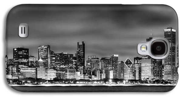 City Scenes Galaxy S4 Case - Chicago Skyline At Night Black And White by Jon Holiday