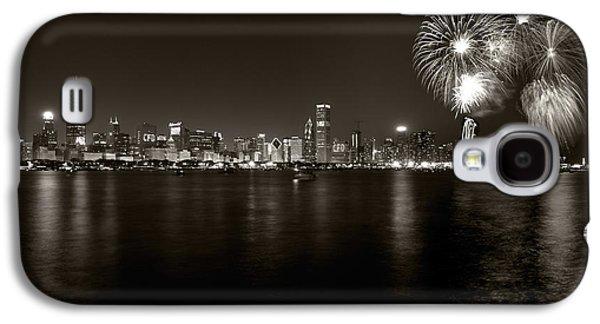 Chicago Skyline Fireworks Bw Galaxy S4 Case