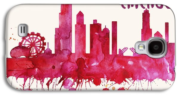 Chicago Skyline Watercolor Poster - Cityscape Painting Artwork Galaxy S4 Case
