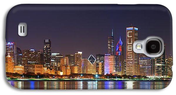 Chicago Skyline With Cubs World Series Lights Night, Chicago, Cook County, Illinois,  Galaxy S4 Case by Panoramic Images