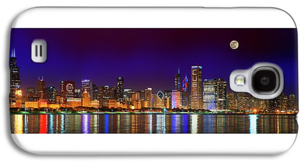 Chicago Skyline With Cubs World Series Lights Night, Moonrise, Lake Michigan, Chicago, Illinois Galaxy S4 Case by Panoramic Images