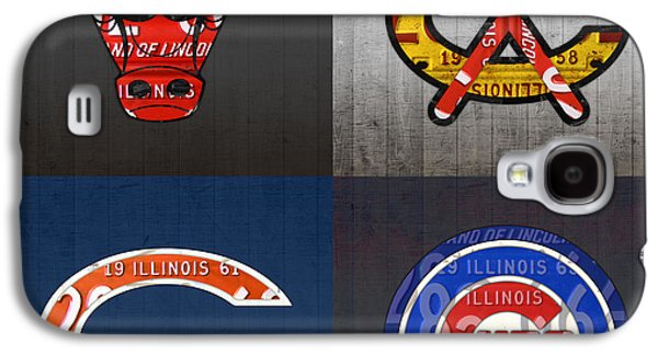 Chicago Sports Fan Recycled Vintage Illinois License Plate Art Bulls Blackhawks Bears And Cubs Galaxy S4 Case by Design Turnpike