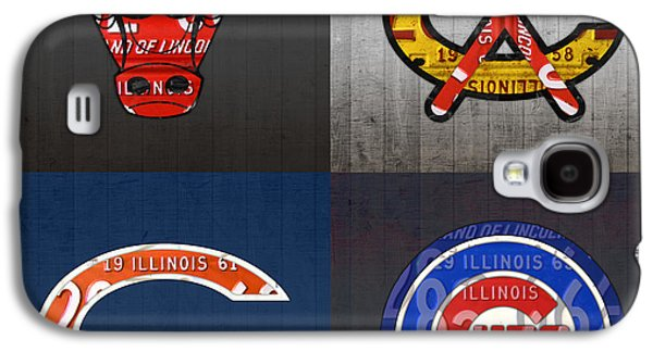 Chicago Sports Fan Recycled Vintage Illinois License Plate Art Bulls Blackhawks Bears And Cubs Galaxy S4 Case