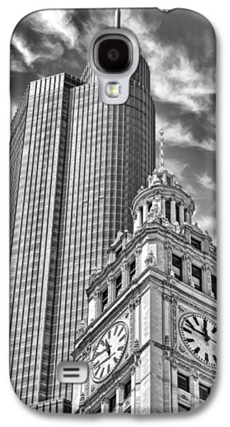 Galaxy S4 Case featuring the photograph Chicago Trump And Wrigley Towers Black And White by Christopher Arndt