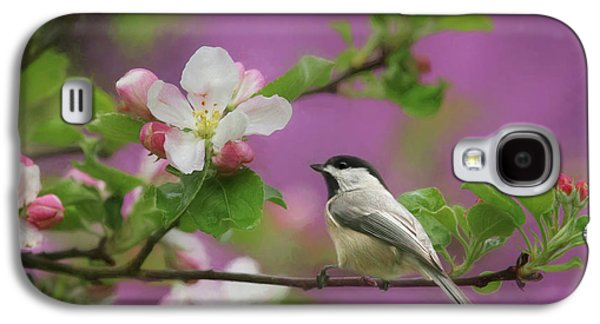 Chickadee In Blossoms Galaxy S4 Case by Lori Deiter