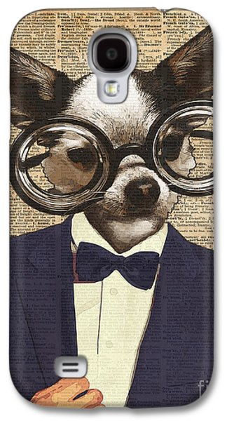 Chihuahua Hipster Dictionary Art Galaxy S4 Case