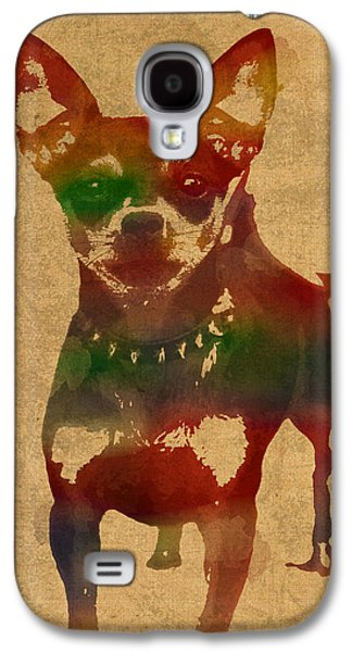 Chihuahua Watercolor Portrait On Worn Canvas Galaxy S4 Case by Design Turnpike