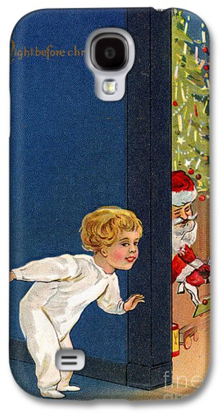 Child Listens As Santa Places Gifts By The Tree On Christmas Eve Galaxy S4 Case by American School