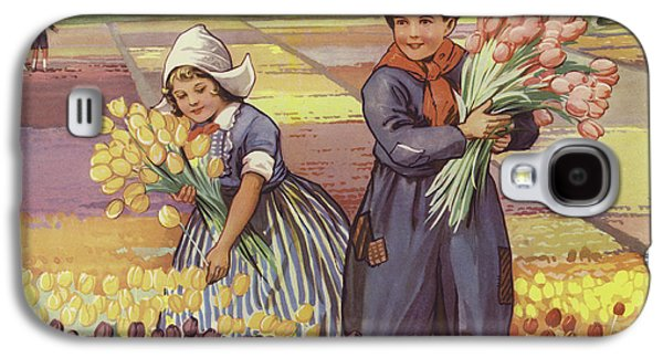 Children Picking Tulips In Holland Galaxy S4 Case