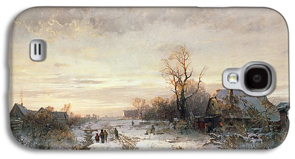 Children Playing In A Winter Landscape Galaxy S4 Case by August Fink