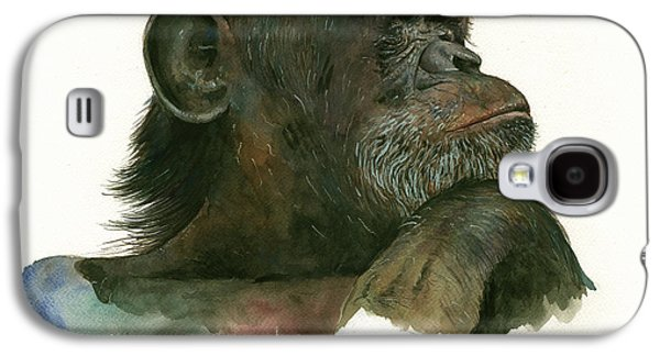 Chimp Portrait Galaxy S4 Case by Juan Bosco