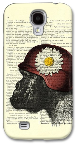 Chimpanzee With Helmet Daisy Flower Dictionary Art Galaxy S4 Case by Madame Memento
